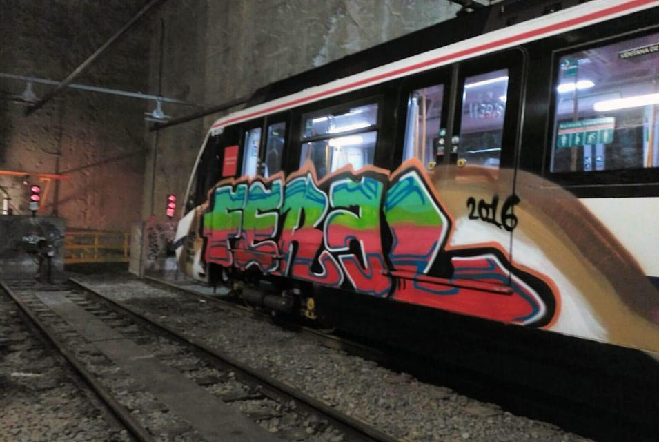 graffiti train subway madrid spain feral 2016