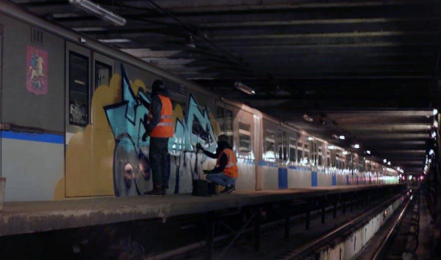 graffiti subway train moskow russia action