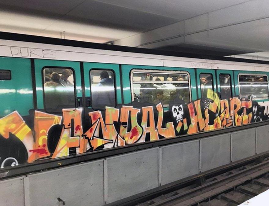 graffiti subway train brussels paris france