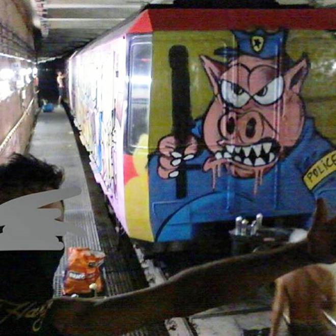 graffiti train subway barcelona spain wholecar acab pigs