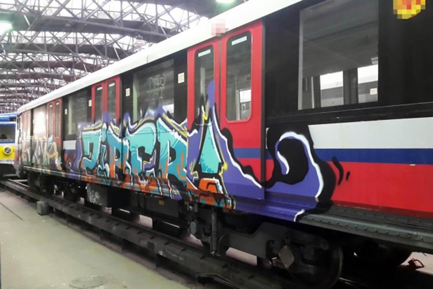 graffiti train subway warsaw poland hangar ziber