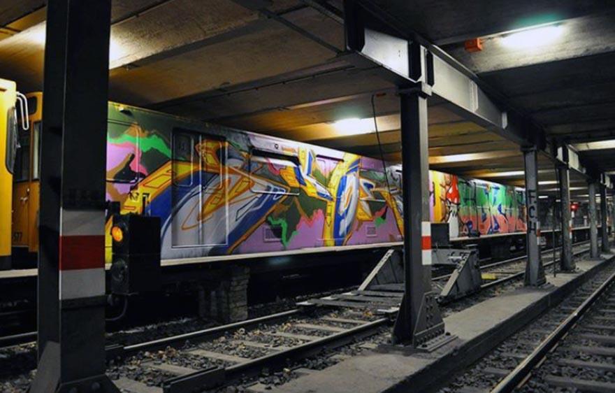 graffiti train subway berlin germany 2wholecar boks sokoe
