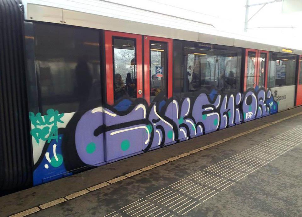 graffiti subway train amsterdam holland running