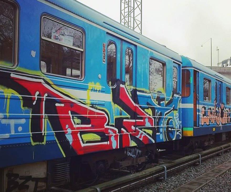 graffiti subway train stockholm sweden bst