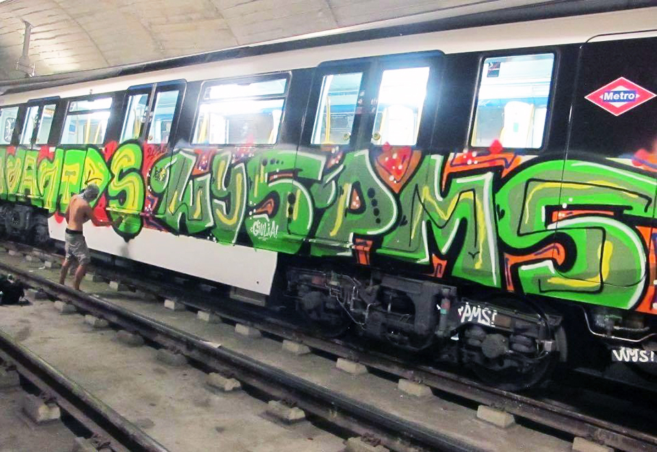 subway graffiti train metro madrid spain otds moa wys pms
