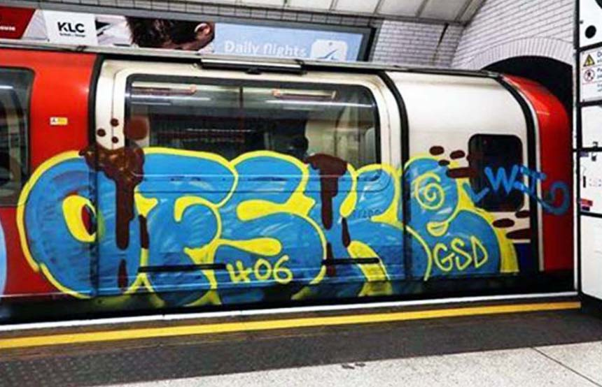 graffiti train subway writing london uk tube ofske running