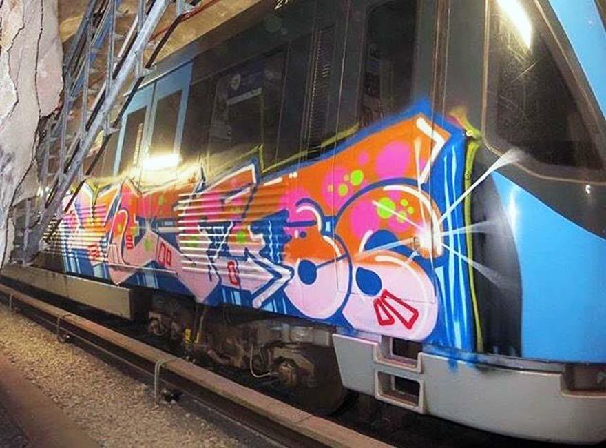 graffiti train subway writing stockholm sweden keff86