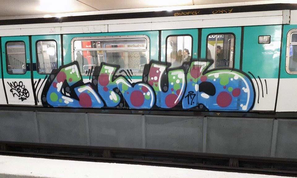 graffiti train subway writing paris france chub 2017