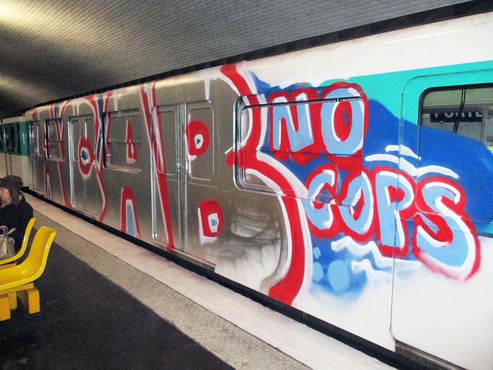 graffiti train subway writing paris france acab