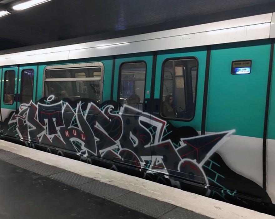 graffiti train subway paris france ether mul