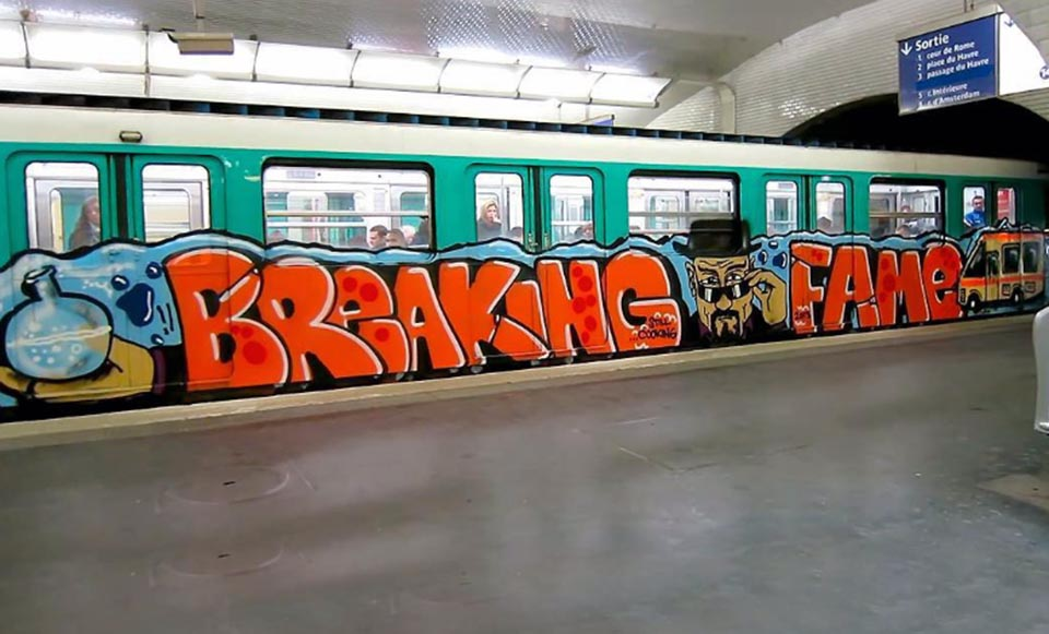 train graffiti writing subway paris france fame running