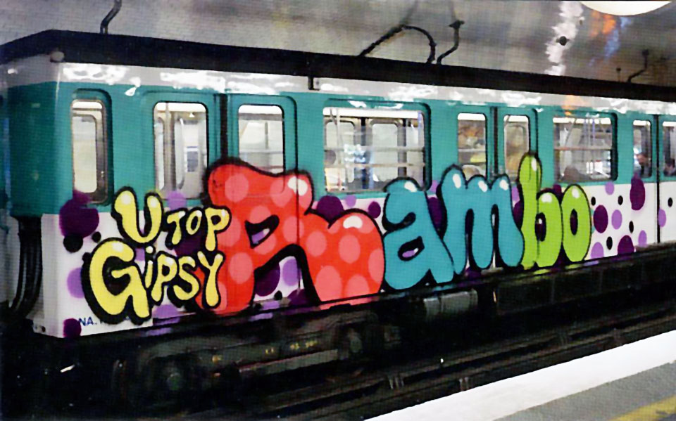 train graffiti writing subway paris france rambo running