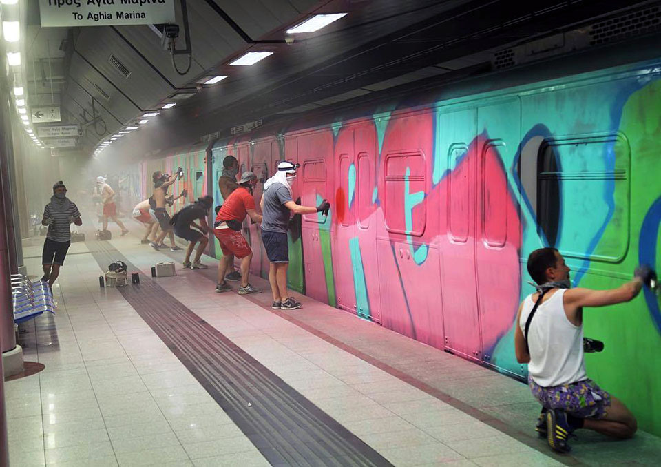 graffiti train writing subway athens greece wholetrain action