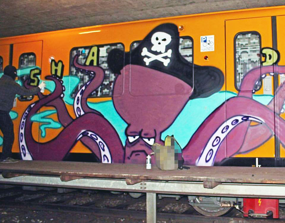 graffiti train writing subway berlin germany action