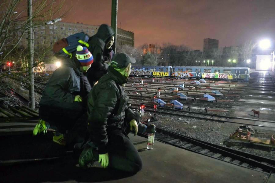 subway train graffiti writing moskow russia yard party 2018 nye