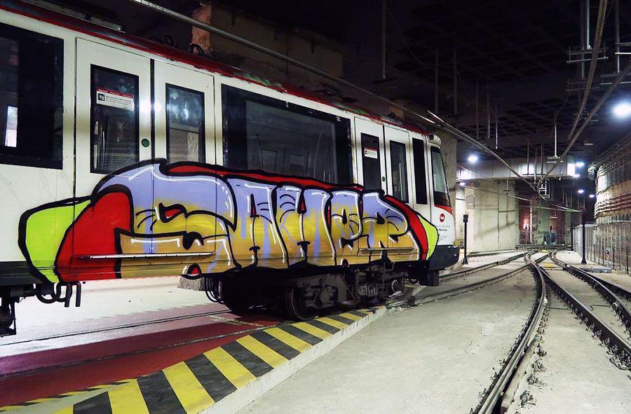 subway train graffiti writing barcelona spain saher