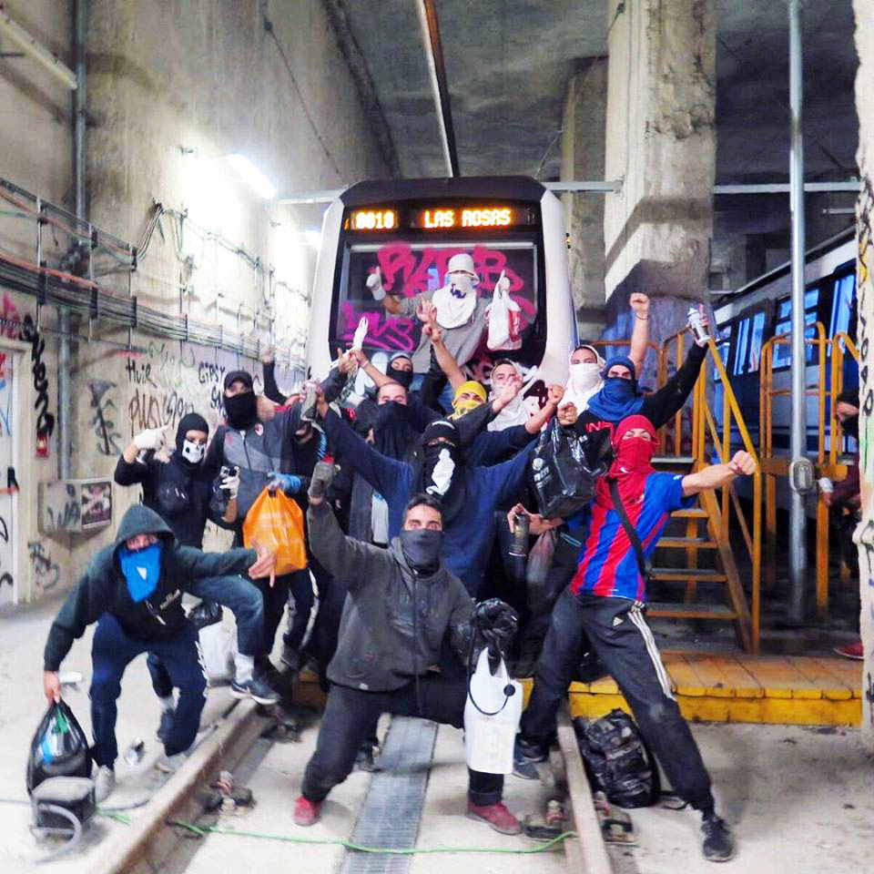 train subway graffiti writing madrid spain party