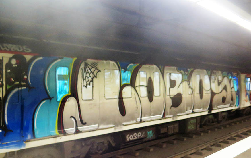 graffiti writing trains subway barcelona spain wholecar lobos rip