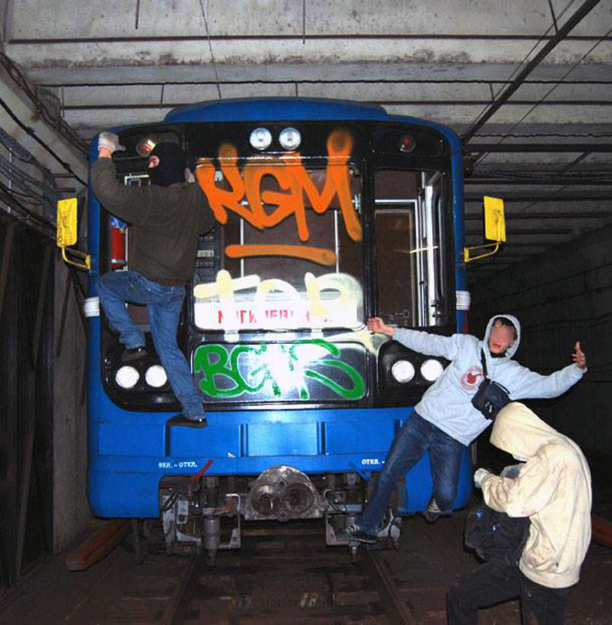 graffiti writing train subway art minsk belarus kgm