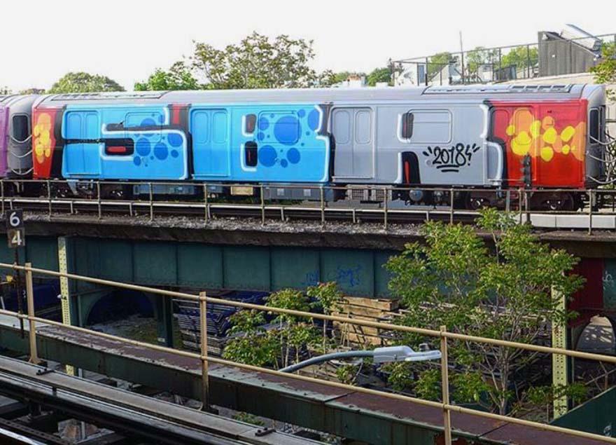 graffiti writing train subway nyc newyork 2018 usa sbr running wholecar