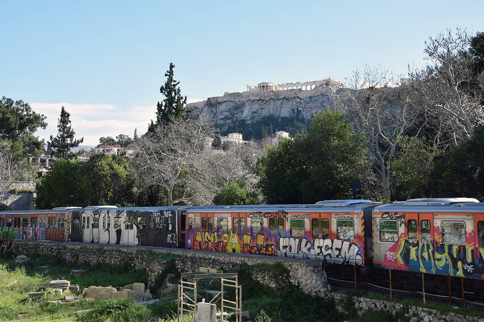 graffiti subway train writing athens greece running e2e