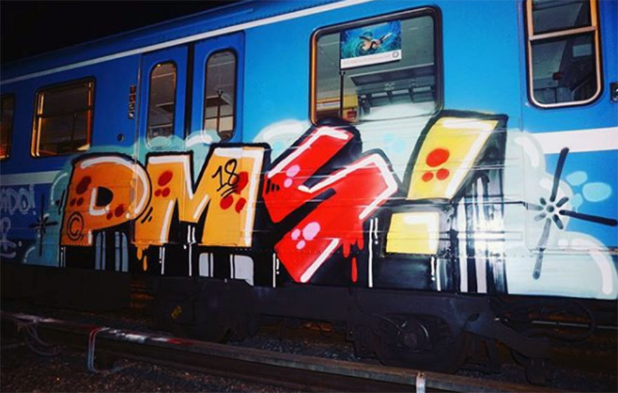 graffiti subway train writing stockholm sweden pms 2018