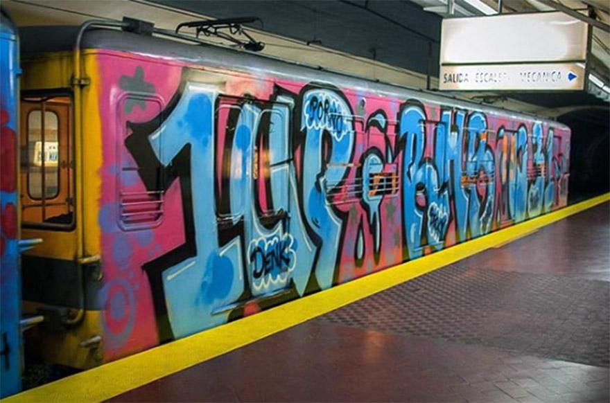 subway train graffiti writing buenos aires argentina 1up rhb 031 wholecar running