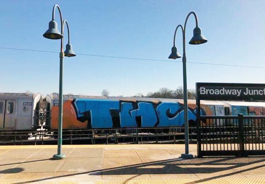 subway train graffiti writing nyc newyork 2018 thc wholecar running usa
