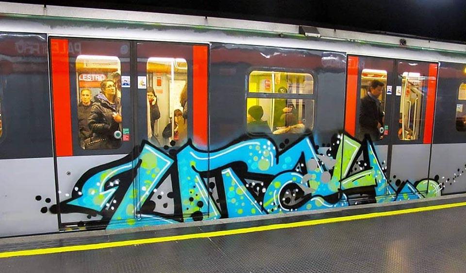 graffiti subway train writing milan italy utah running