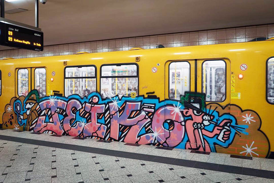 writing graffiti subway berlin germany