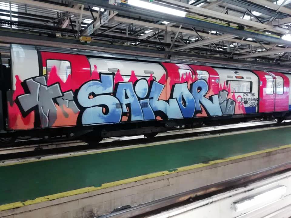 writing graffiti subway london uk sailor tube